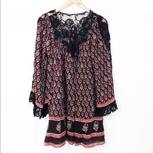 FREE PEOPLE Black & Red Floral Boho Dress W/Lace